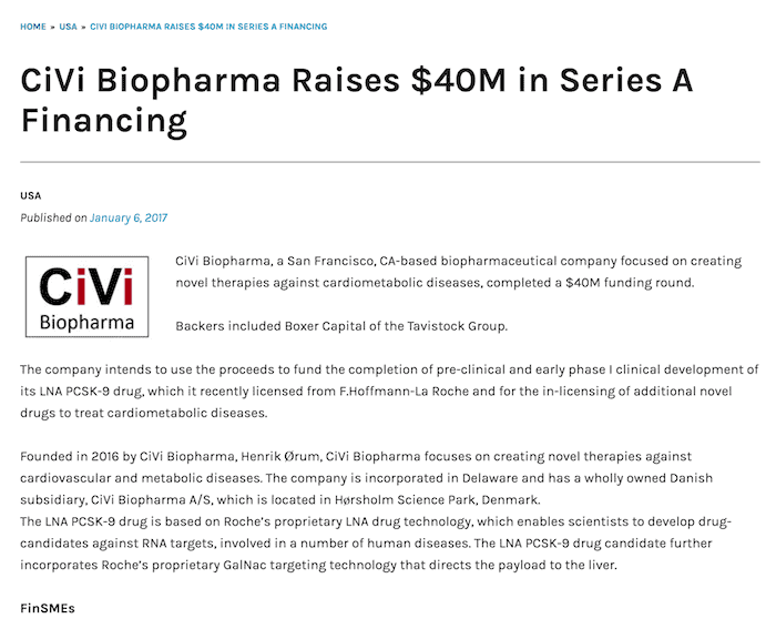 Civi Biopharma Series A FinSMEs pitch book designer
